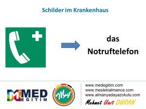 Schilder im Krankenhaus - Hastanedeki Tabelaların Almancası 2