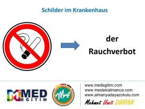 Schilder im Krankenhaus - Hastanedeki Tabelaların Almancası 7