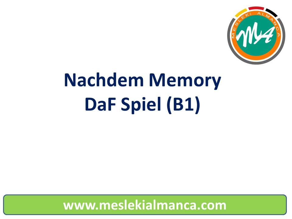 Nachdem Memory (B1) - DaF Spiel 8