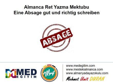 Almanca Ret Mektubu Yazma - Eine Absage gut und richtig schreiben 1